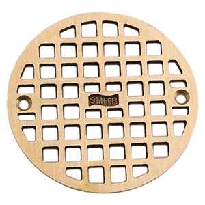 "Jay R. Smith A05PBG Round Floor Drain Grate, 4-11/16"" Polished Brass"