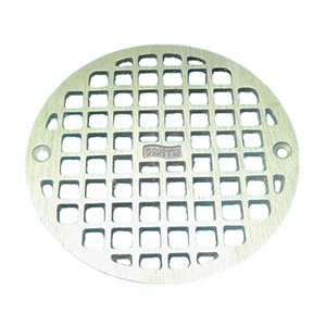 "Jay R. Smith A06PBG Round Floor Drain Grate, 5-19/32"" Polished Brass"