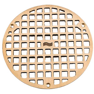 "Jay R. Smith A08PBG Round Floor Drain Grate, 8"" Polished Brass"